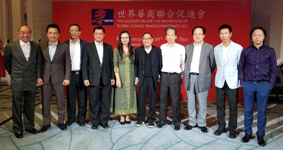 中國駐馬大使參贊馬珈(左五)與中馬華商領袖等合影。左起:蔡傌友、戴良業、李賢義、方天興、莊會長、陳紅天、舒心、陳少東、王少主。